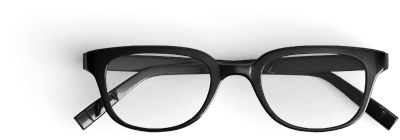 Inter Vivos black frame glasses